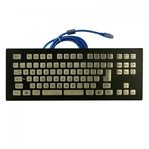 IP66 waterproof black electroplated stainless steel panel mounted keyboard